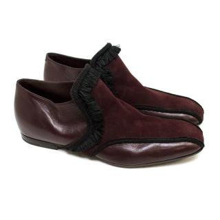 Bottega Veneta Burgundy Leather & Suede Shoes with Ruffles