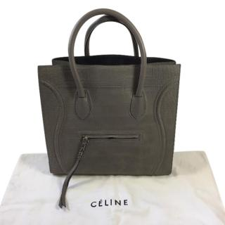 Celine Large Phantom Luggage in Croc Grey