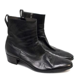 Yves Saint Laurent Black Leather Boots