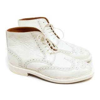 Florsheim by Duckie Brown High-Top White Leather Brogues