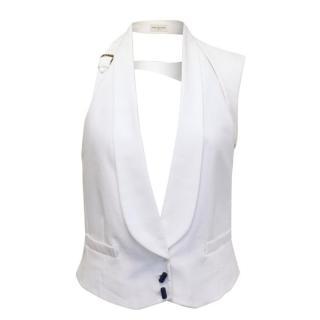 Dries Van Noten White Waistcoat with Shoulder Piece