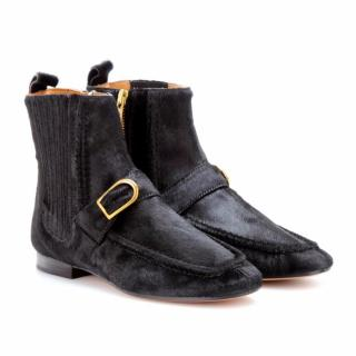 Isabel Marant black Anson calf hair ankle boots with buckle
