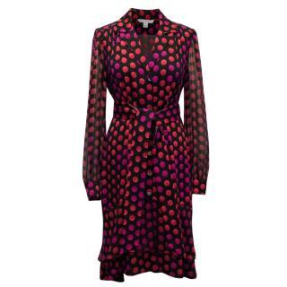 Diane Von Furstenberg Polkadot Dress with Belted Waist