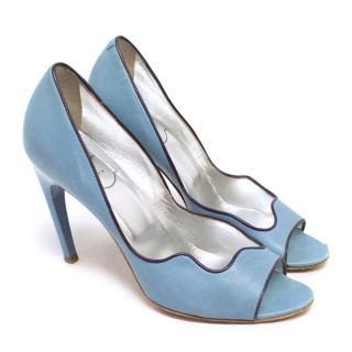 Roger Vivier Blue Leather Peep-Toe Pumps