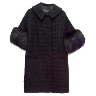 Etro Black Wool Knit Crop Sleeve Coat with Raccoon Fur Trims