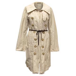 Ramosport Beige Raincoat with Brown Leather Belt