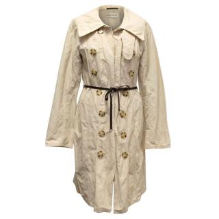 Ramosport Beige Raincoat with Brown Leather Belt