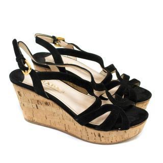 Prada Black Wedge Sandals