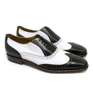 Salvatore Ferragamo Black and White Leather Brogues