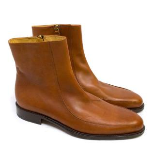 Versace Tan Leather Ankle Boots with Zips