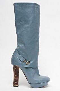Galliano powder blue boots with platform and wooden heels