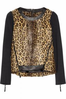Milly cheetah-print faux-fur top with leather trim