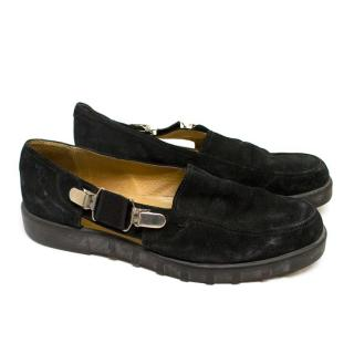 Cesare Paciotti Black Suede Loafers with Open Side Panels