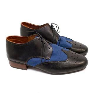 Munoz Vrandecic Black and Blue Leather Brogues