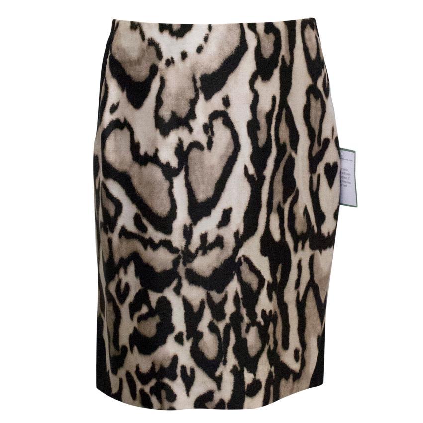 Diane von Furstenberg Black & Leopard Pencil Skirt
