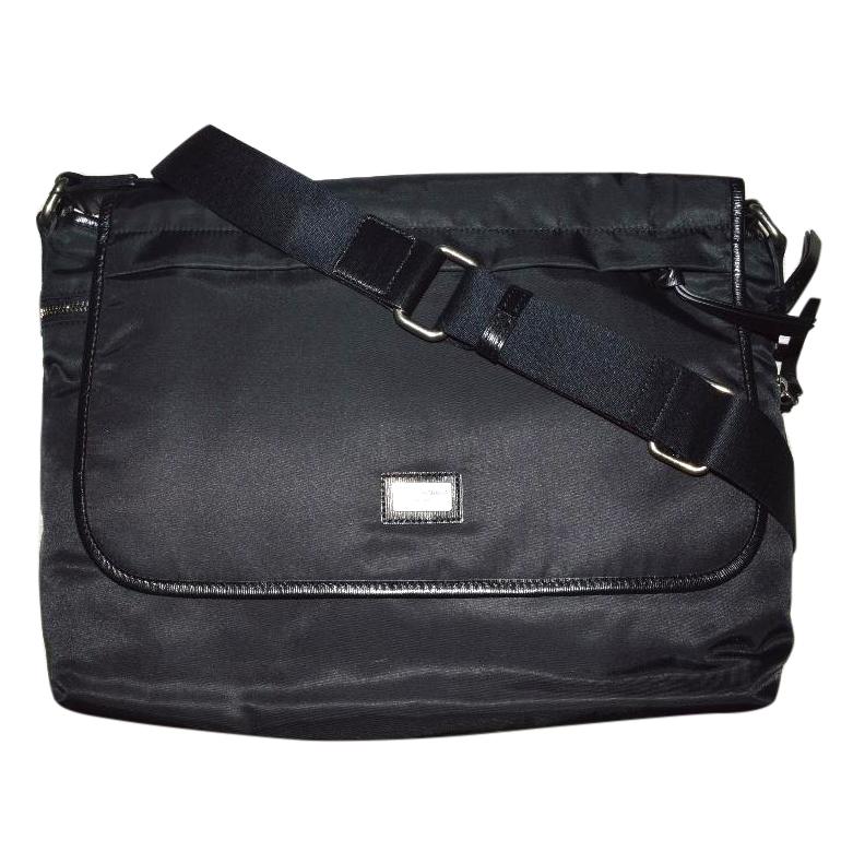 Dolce & Gabbana black nylon leather Men weekend crossbody bag