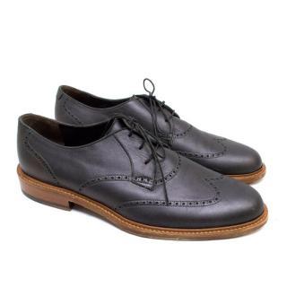Lanvin Metallic Grey Leather Brogues