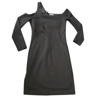Helmut Lang black one shoulder dress.