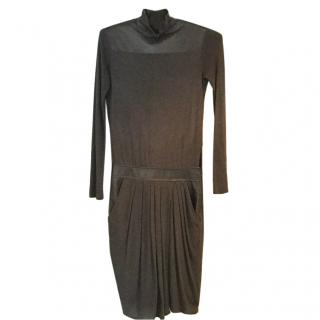 Helmut Lang grey fabric & leather dress.