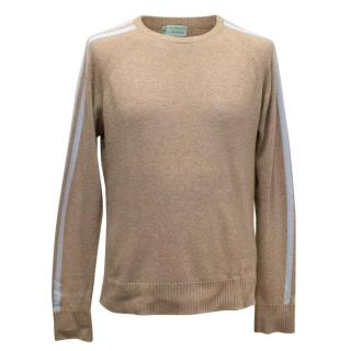 Clements Ribeiro Oatmeal Cashmere Jumper with Blue Stripe