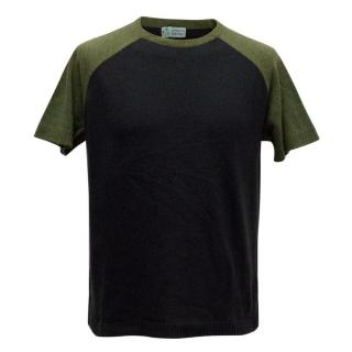 Clements Ribeiro Navy and Green Short-Sleeve Jumper