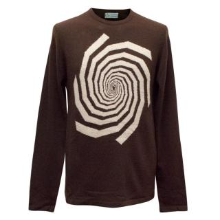 Clements Ribeiro Brown Cashmere Jumper with  Spiral Design