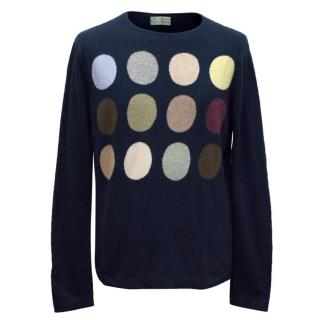 Clements Ribeiro Navy Cashmere Jumper with Spots
