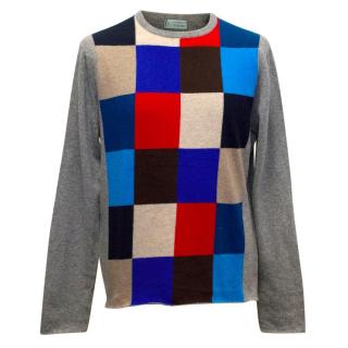Clements Ribeiro Grey Cashmere Jumper with Coloured Checks