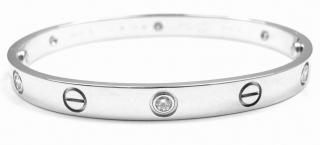 Cartier love bracelet 18k white gold 4 diamonds