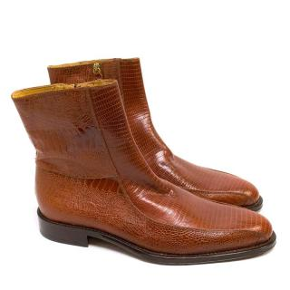 Versace Brown Snake Skin Embossed Leather Boots