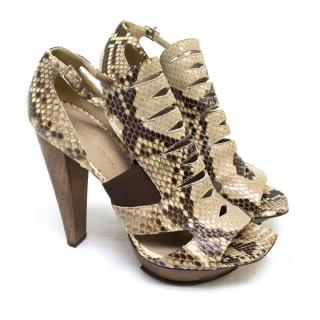 Raphael Young Tsuka Snakeskin Open Toe Pumps