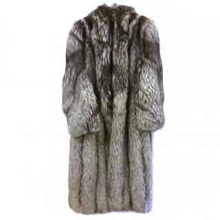 Silver fox fur coat with matching hat