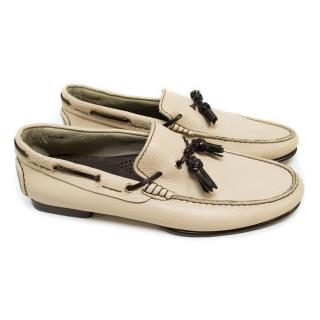 Tom Ford Nude Leather Boat Shoes with Black Tassles