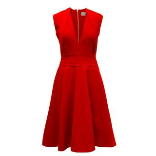 Preen By Thornton Bregazzi Red Low-Cut Skater Dress