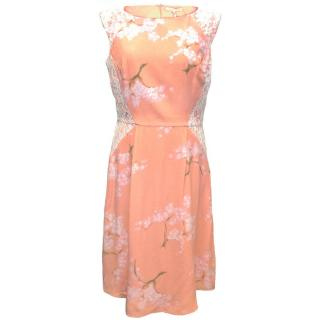 Tabitha Webb Pink Floral Skater Midi Dress with White Lace