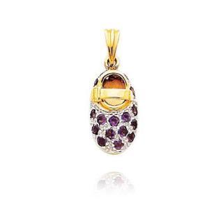 Yellow gold & amethyst baby shoe pendant