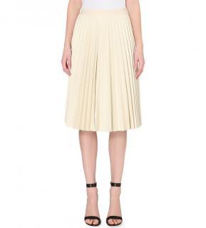 Theory Zeyn pleated leather skirt