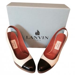 Lanvin cream and black sling backs NEW