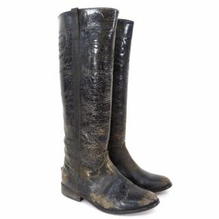 GOLDEN GOOSE DELUXE BRAND Distressed Leather Riding Boot