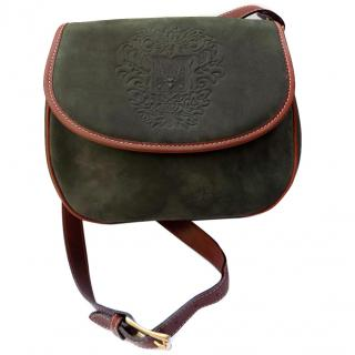 BALLY Vintage Green and Brown Leather Shoulder Bag.