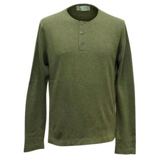Clements Ribeiro Olive Green Cashmere Jumper with Buttons