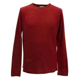 Clements Ribeiro Men's  Burgundy Cashmere Crewneck Jumper