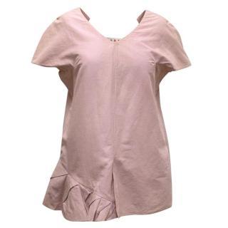 Marni Blush Pink Cap Sleeve V-Neck Top