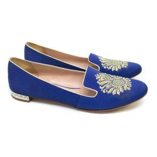 Miu Miu Blue Embroidered Ballerina Slippers