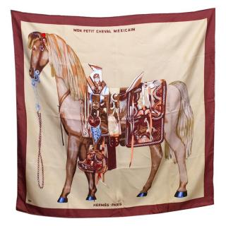Hermes Beige and Bordeaux Silk Scarf