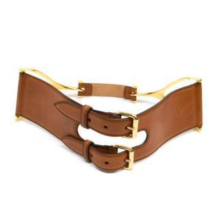Alexander McQueen Tan Leather Belt with Gold Metal