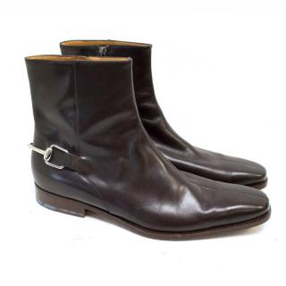 Gucci Brown Leather Ankle Boots with Silver Back Buckle
