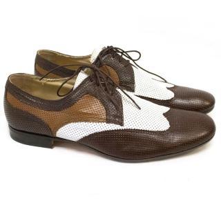 Bottega Veneta Brown and White Leather Dress Shoes