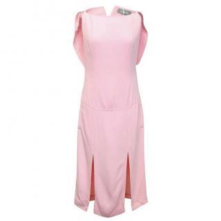 Osman Pink Cape Back Dress with Thigh Slits