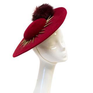 Awon Golding Deep Red Wool Hat Fascinator
